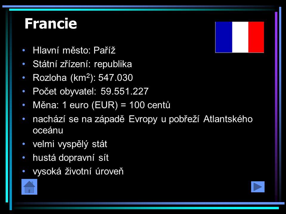Francie Hlavní město: Paříž Státní zřízení: republika