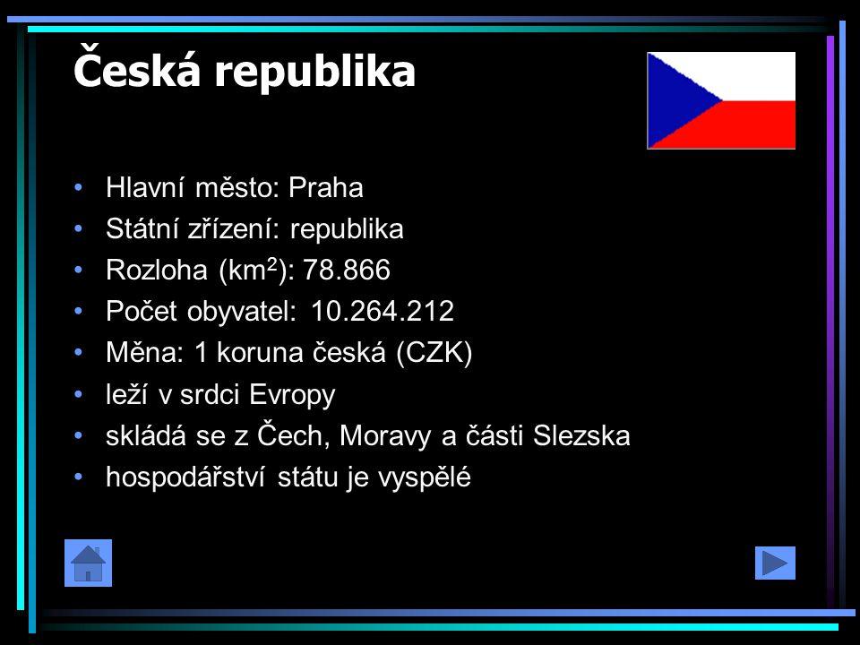 Česká republika Hlavní město: Praha Státní zřízení: republika