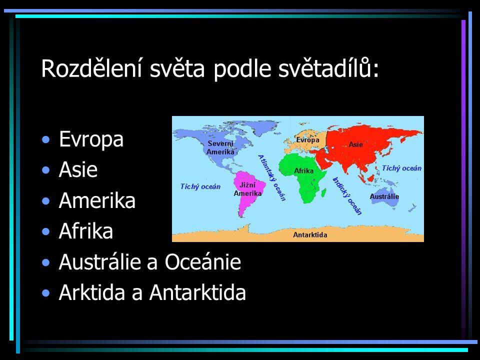 Rozdělení světa podle světadílů: