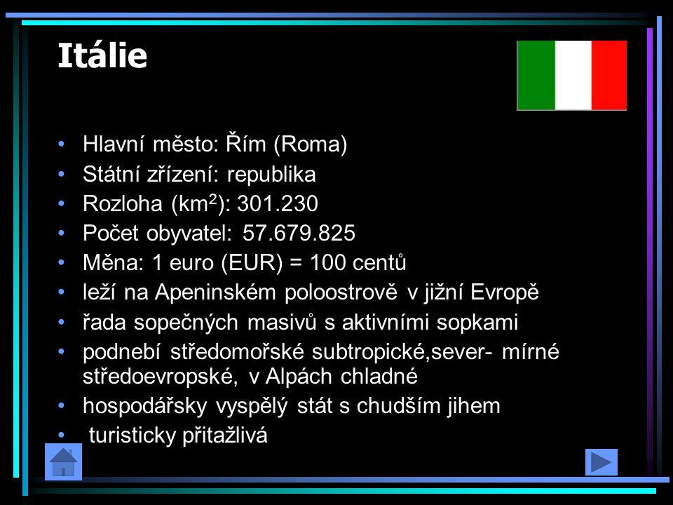 Itálie Hlavní město: Řím (Roma) Státní zřízení: republika
