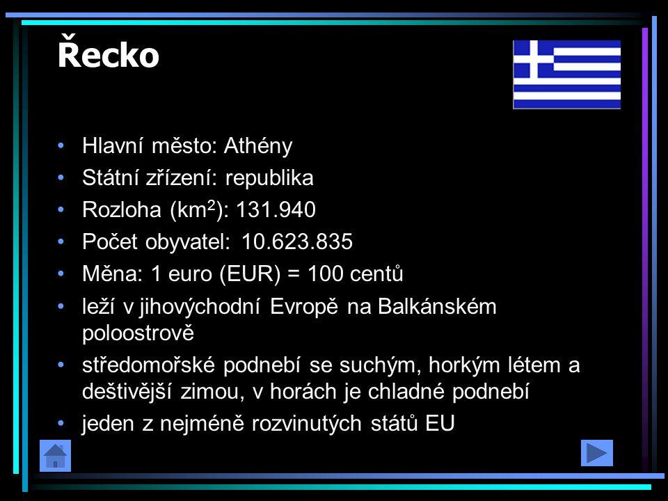 Řecko Hlavní město: Athény Státní zřízení: republika