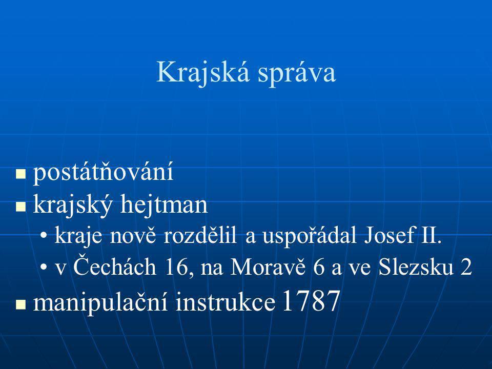 Krajská správa postátňování krajský hejtman manipulační instrukce 1787