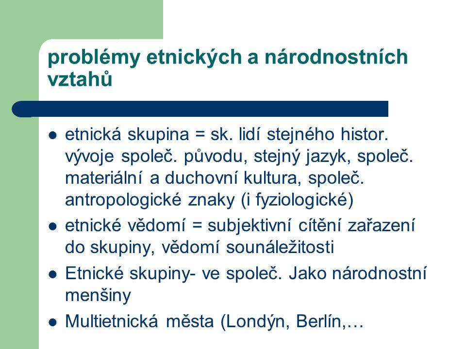 problémy etnických a národnostních vztahů