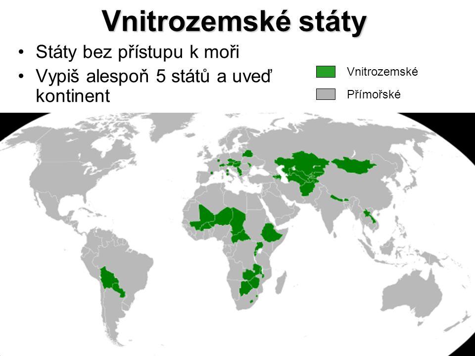 Vnitrozemské státy Státy bez přístupu k moři