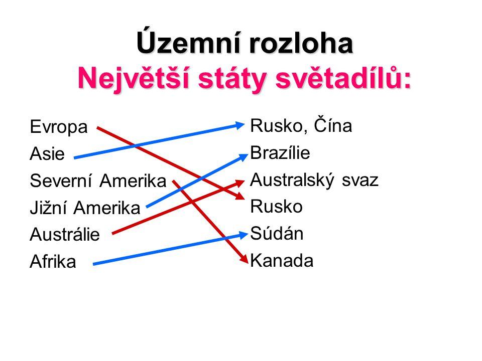 Územní rozloha Největší státy světadílů:
