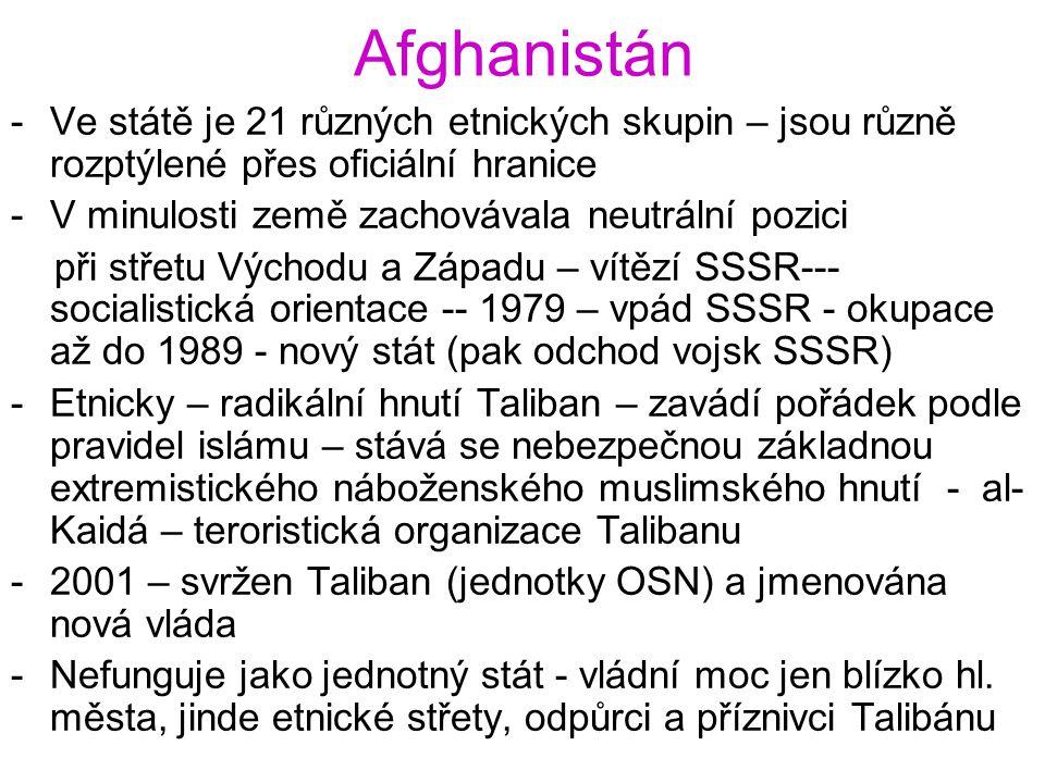 Afghanistán Ve státě je 21 různých etnických skupin – jsou různě rozptýlené přes oficiální hranice.