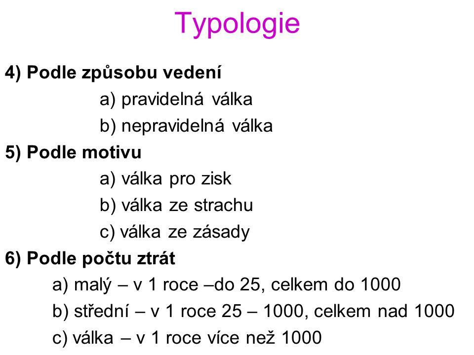 Typologie 4) Podle způsobu vedení a) pravidelná válka