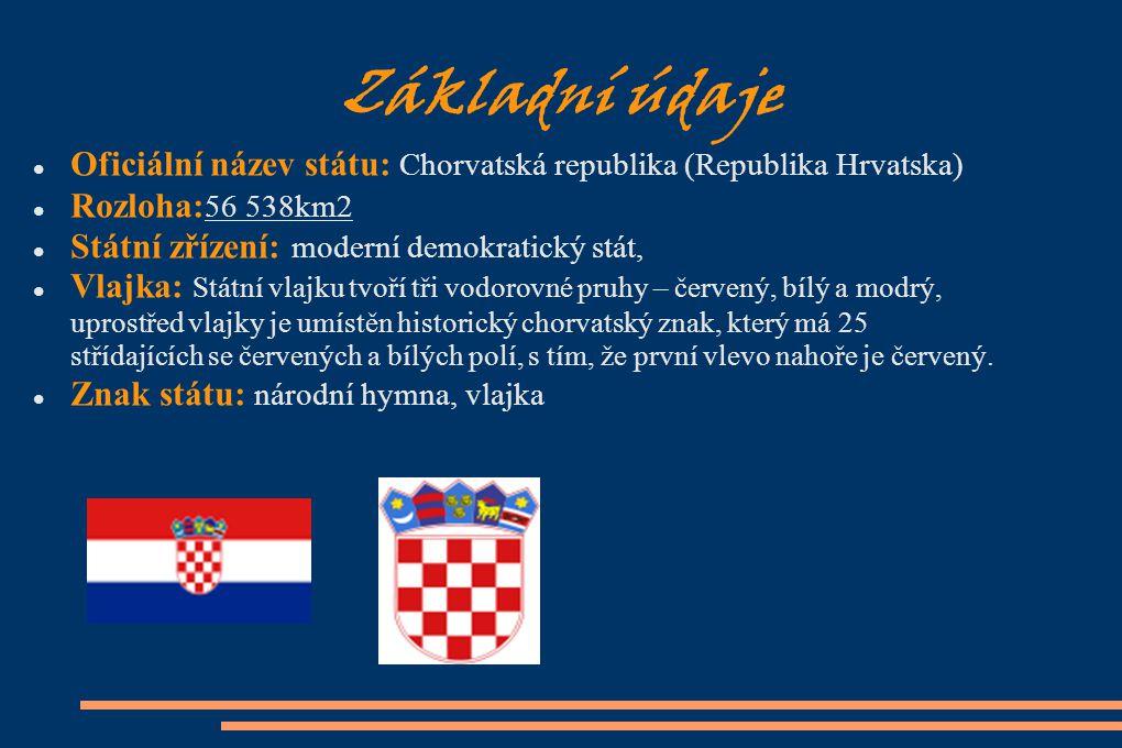 Základní údaje Oficiální název státu: Chorvatská republika (Republika Hrvatska) Rozloha:56 538km2.