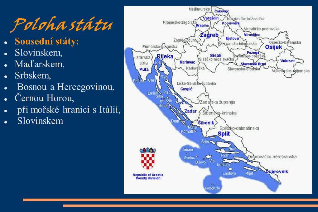 Poloha státu Sousední státy: Slovinskem, Maďarskem, Srbskem,