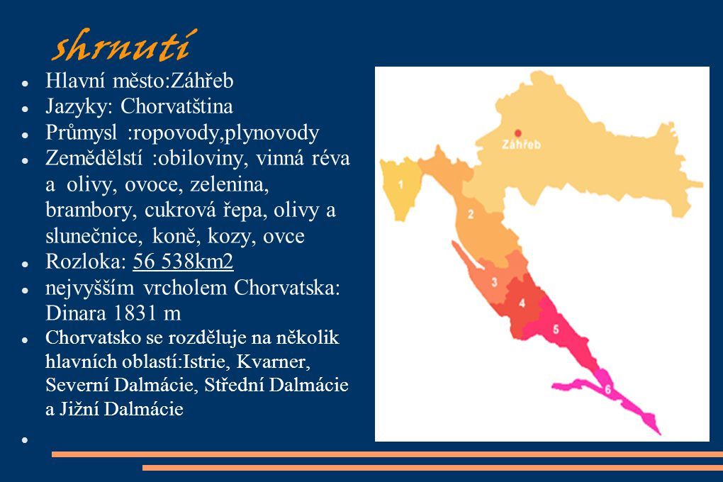 shrnutí Hlavní město:Záhřeb Jazyky: Chorvatština