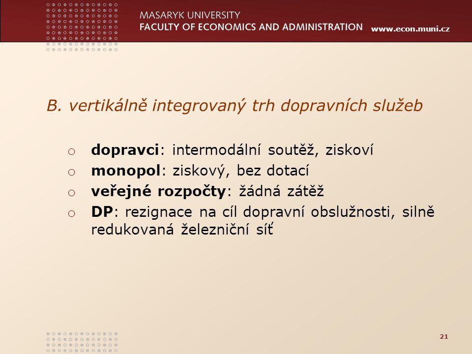 B. vertikálně integrovaný trh dopravních služeb