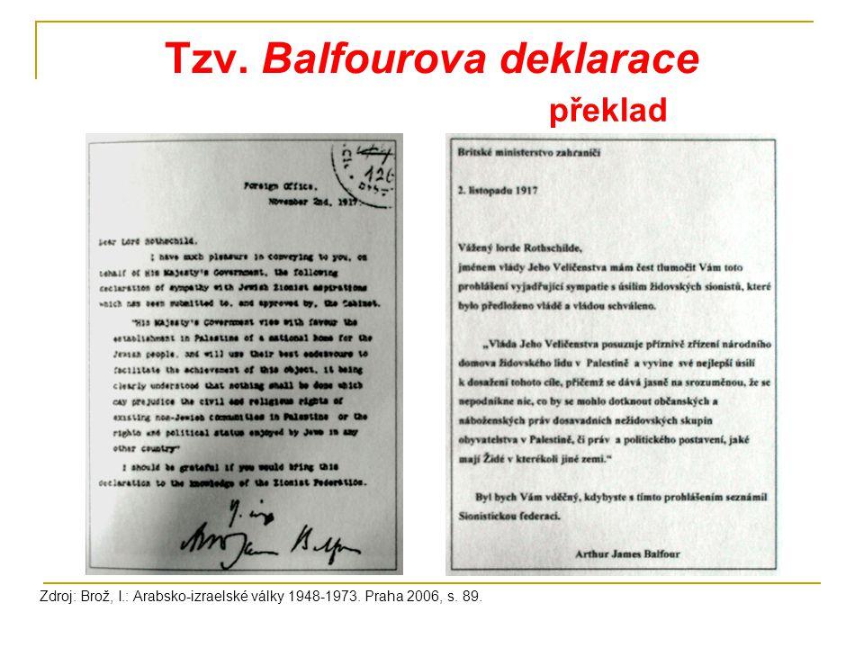 Tzv. Balfourova deklarace