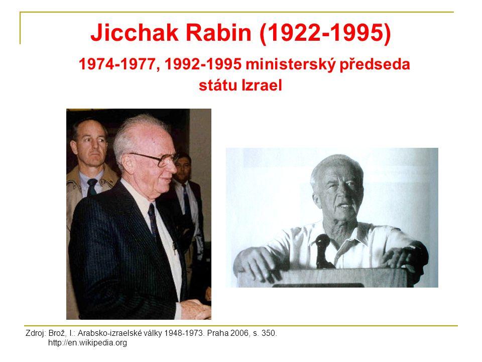 Jicchak Rabin (1922-1995) 1974-1977, 1992-1995 ministerský předseda státu Izrael
