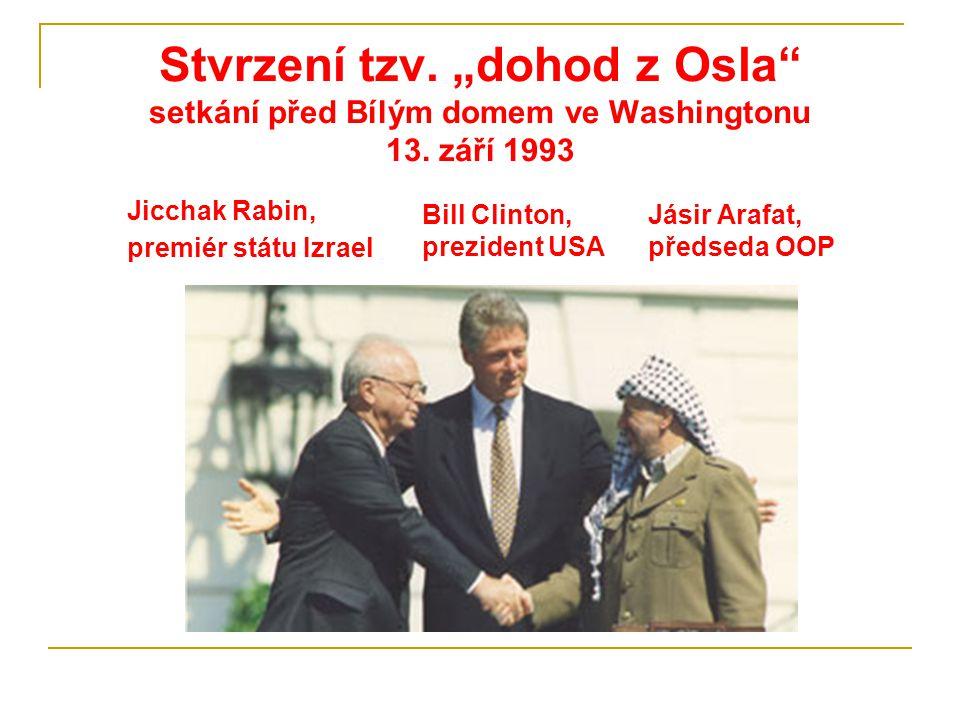 """Stvrzení tzv. """"dohod z Osla setkání před Bílým domem ve Washingtonu 13. září 1993"""