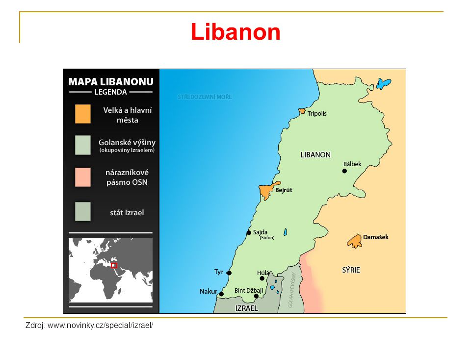 Libanon Zdroj: www.novinky.cz/special/izrael/