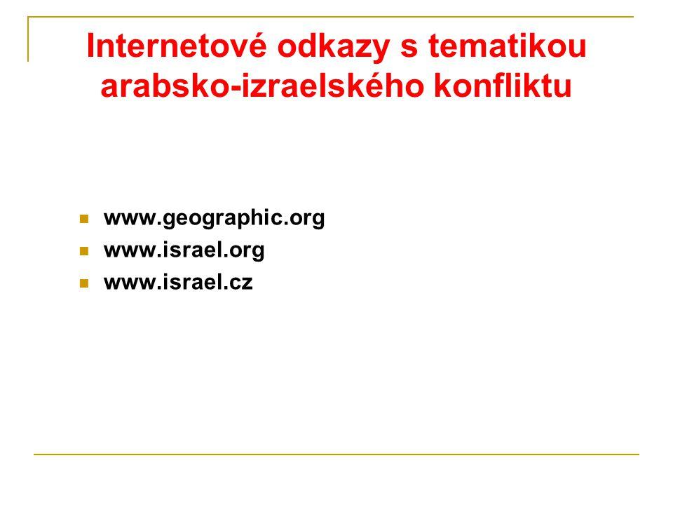 Internetové odkazy s tematikou arabsko-izraelského konfliktu