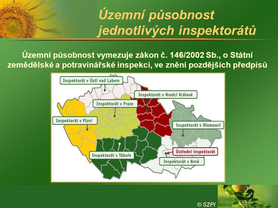 Územní působnost jednotlivých inspektorátů