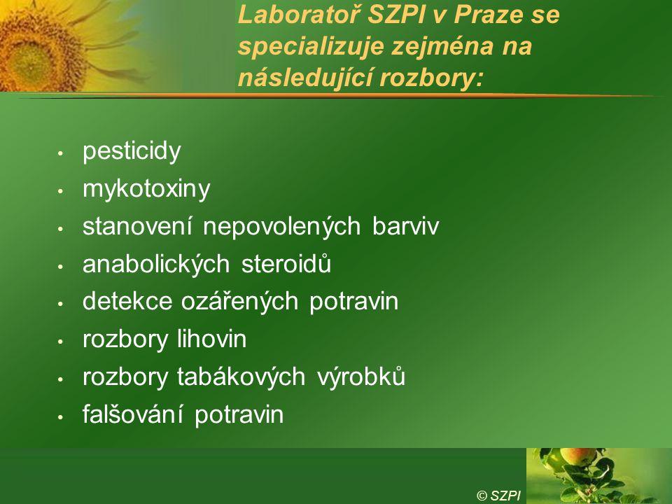 Laboratoř SZPI v Praze se specializuje zejména na následující rozbory: