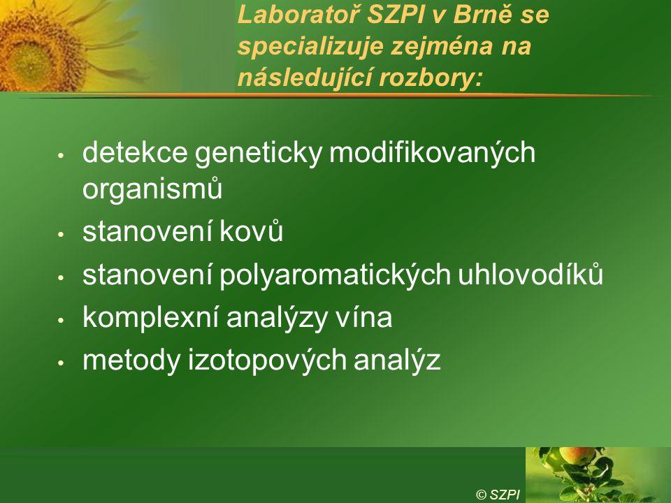 Laboratoř SZPI v Brně se specializuje zejména na následující rozbory: