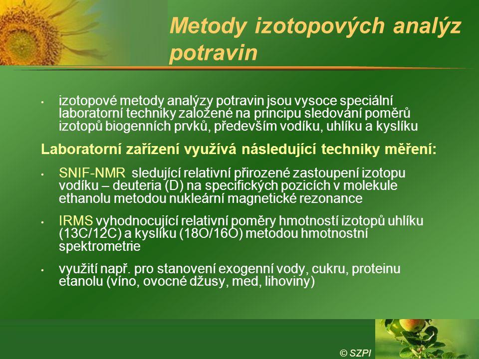 Metody izotopových analýz potravin