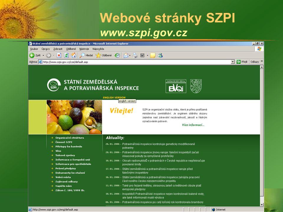 Webové stránky SZPI www.szpi.gov.cz
