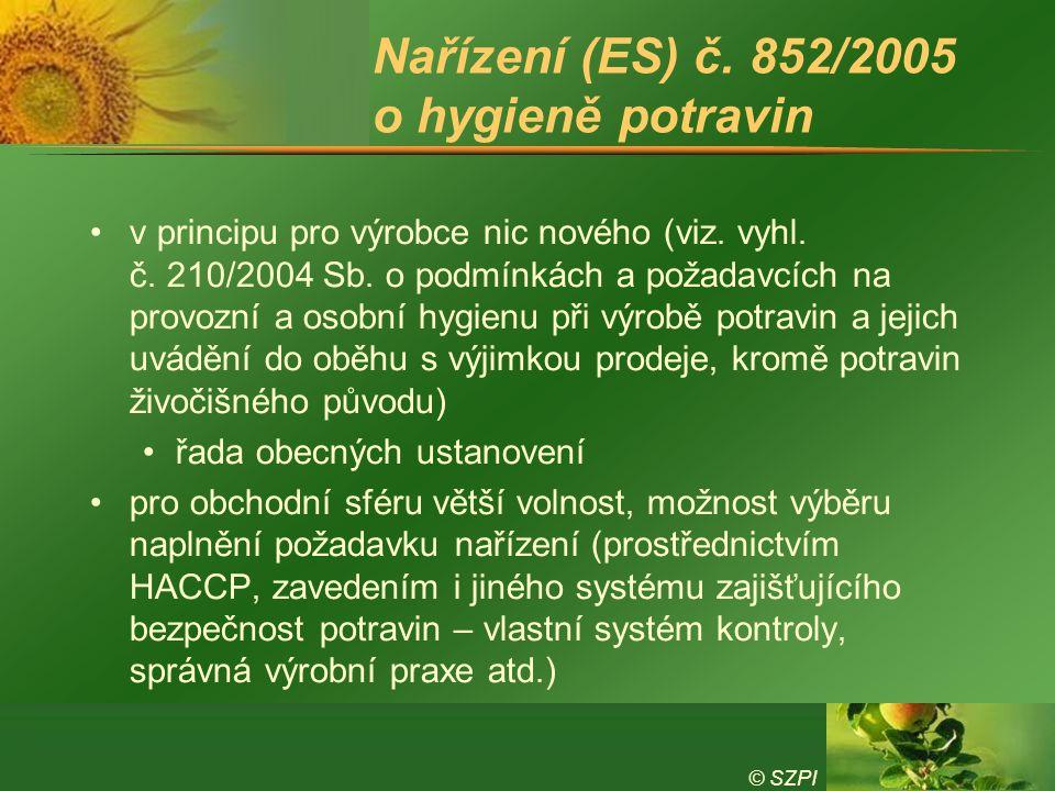 Nařízení (ES) č. 852/2005 o hygieně potravin