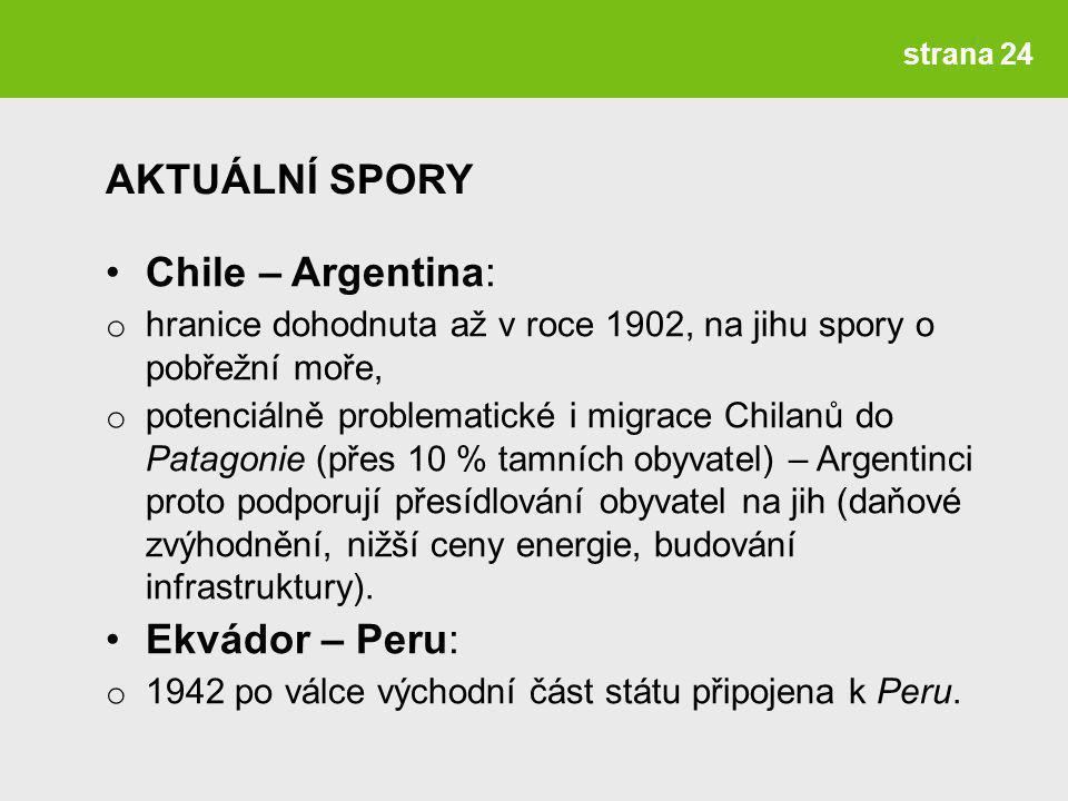 AKTUÁLNÍ SPORY Chile – Argentina: Ekvádor – Peru: