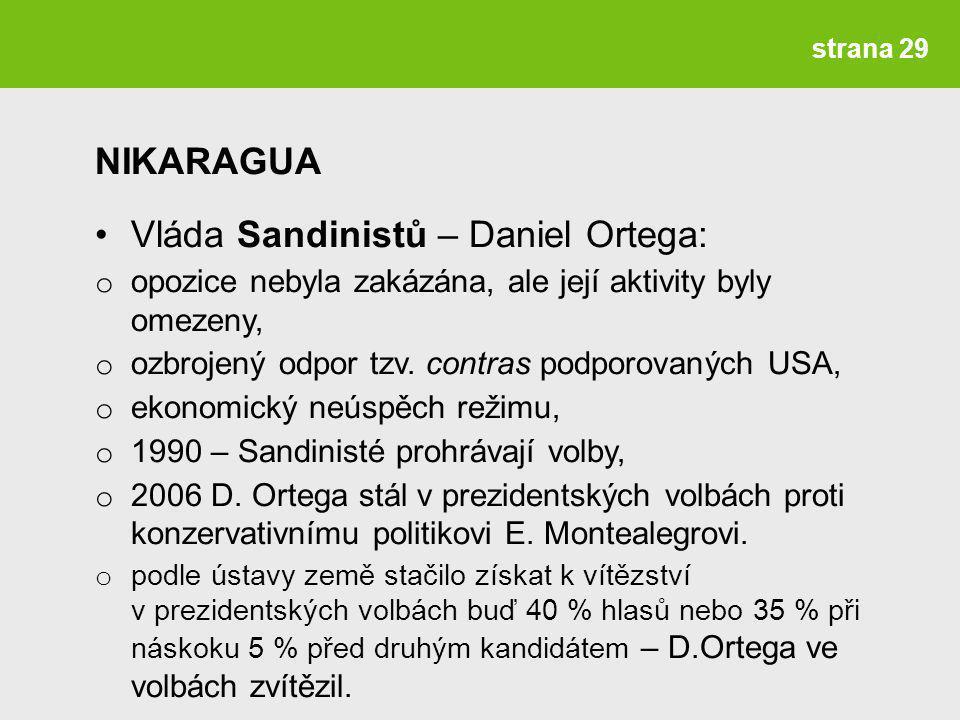 Vláda Sandinistů – Daniel Ortega: