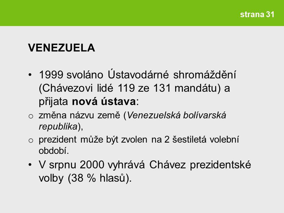 V srpnu 2000 vyhrává Chávez prezidentské volby (38 % hlasů).