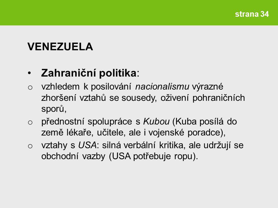 VENEZUELA Zahraniční politika: