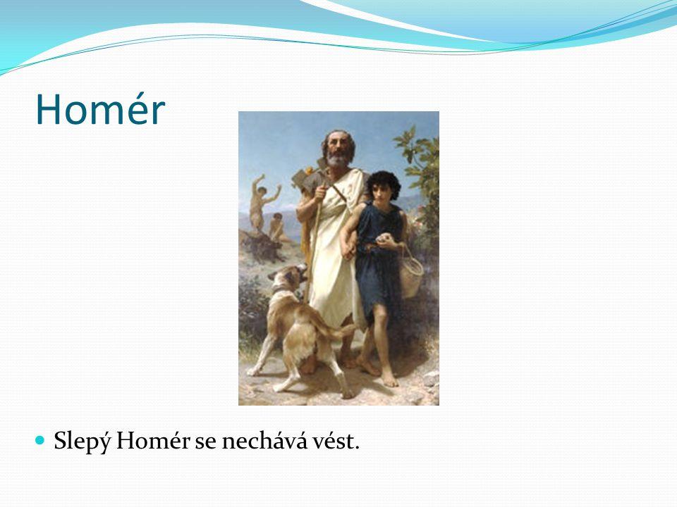 Homér Slepý Homér se nechává vést.