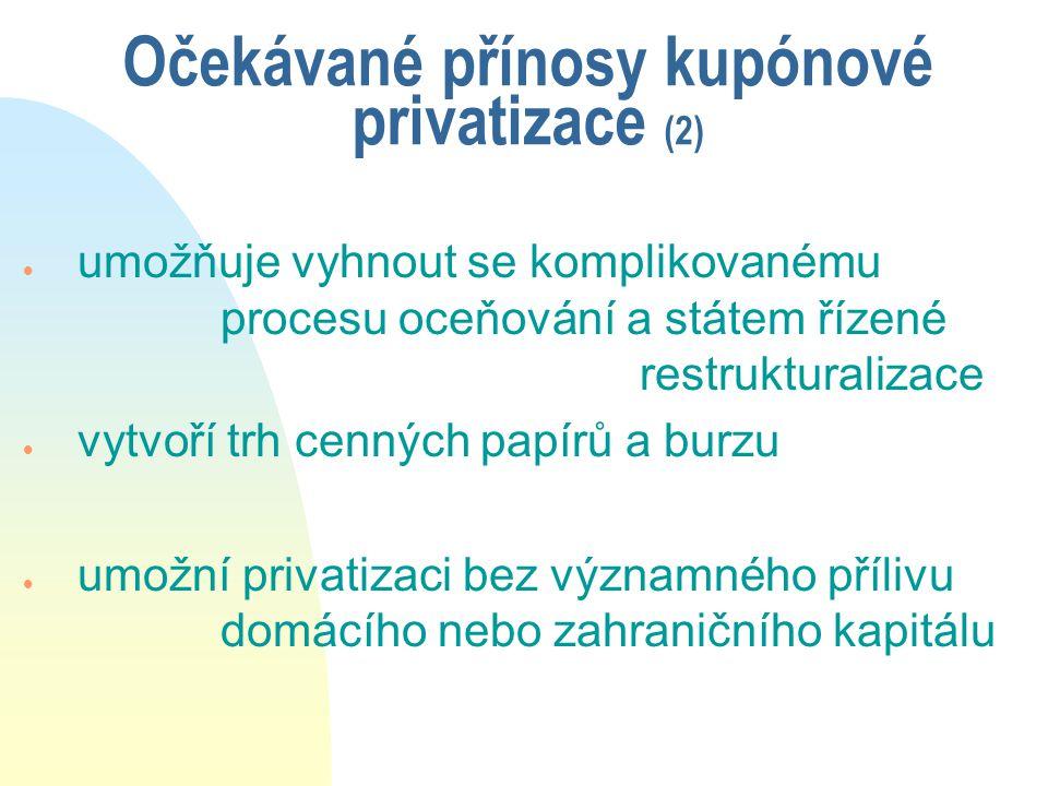 Očekávané přínosy kupónové privatizace (2)