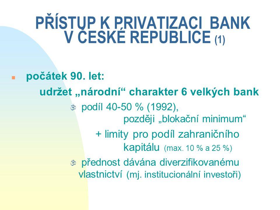 PŘÍSTUP K PRIVATIZACI BANK V ČESKÉ REPUBLICE (1)