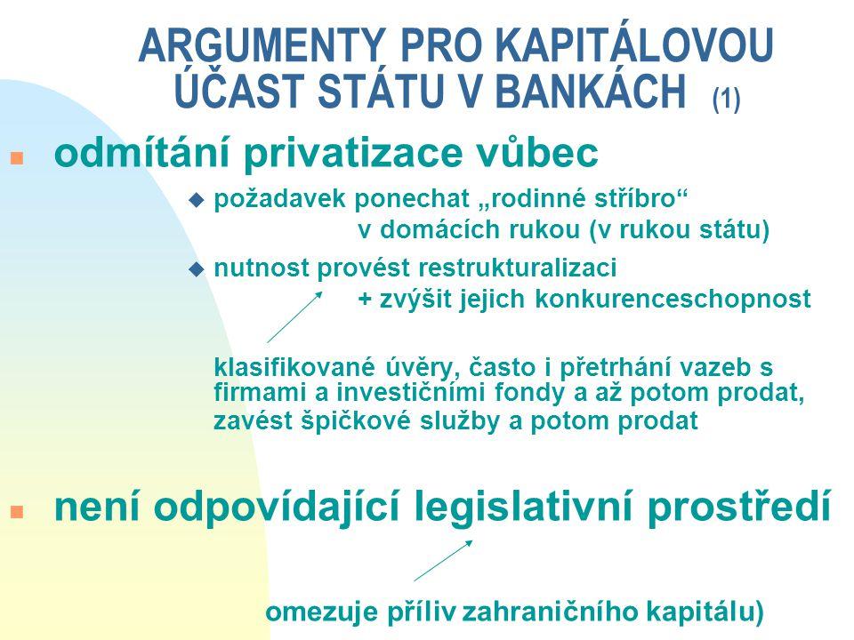 ARGUMENTY PRO KAPITÁLOVOU ÚČAST STÁTU V BANKÁCH (1)