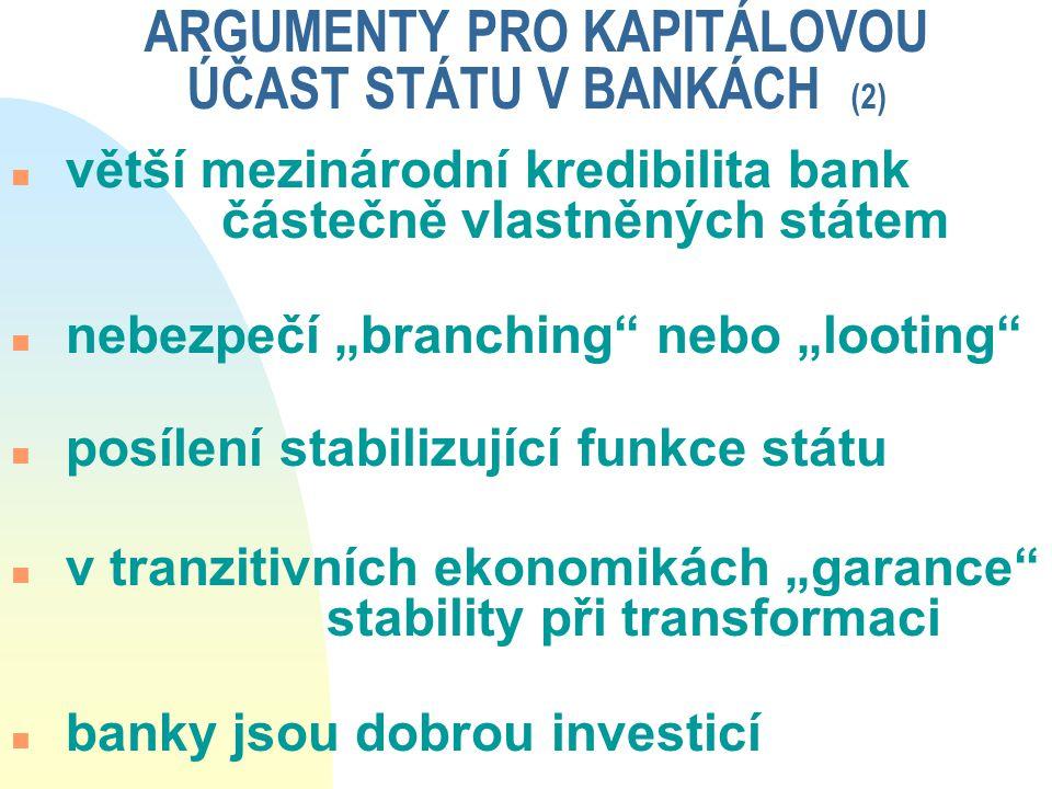 ARGUMENTY PRO KAPITÁLOVOU ÚČAST STÁTU V BANKÁCH (2)