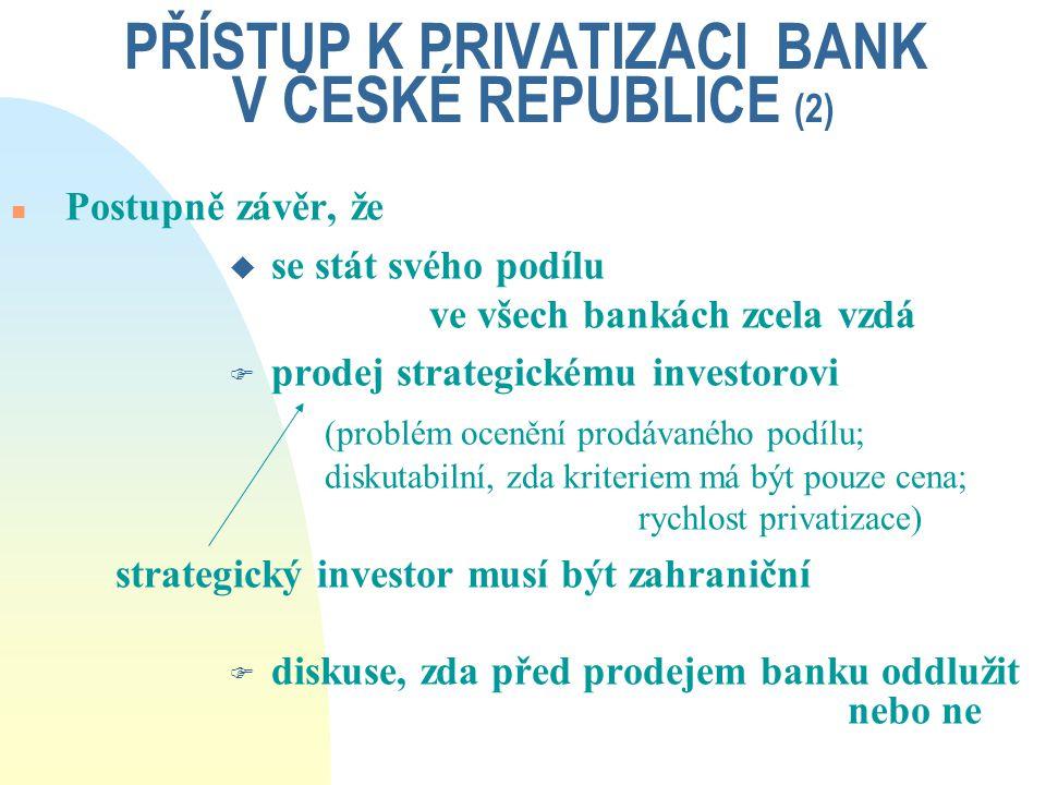 PŘÍSTUP K PRIVATIZACI BANK V ČESKÉ REPUBLICE (2)