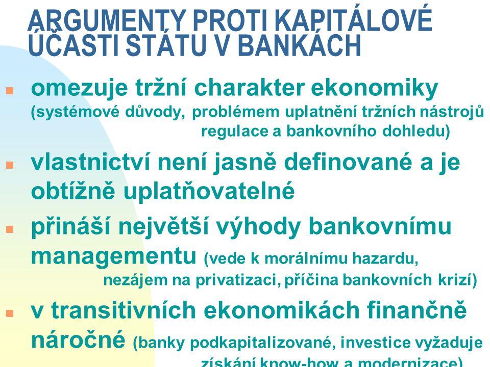 ARGUMENTY PROTI KAPITÁLOVÉ ÚČASTI STÁTU V BANKÁCH
