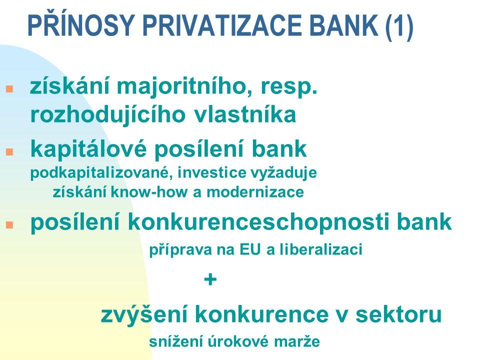 PŘÍNOSY PRIVATIZACE BANK (1)