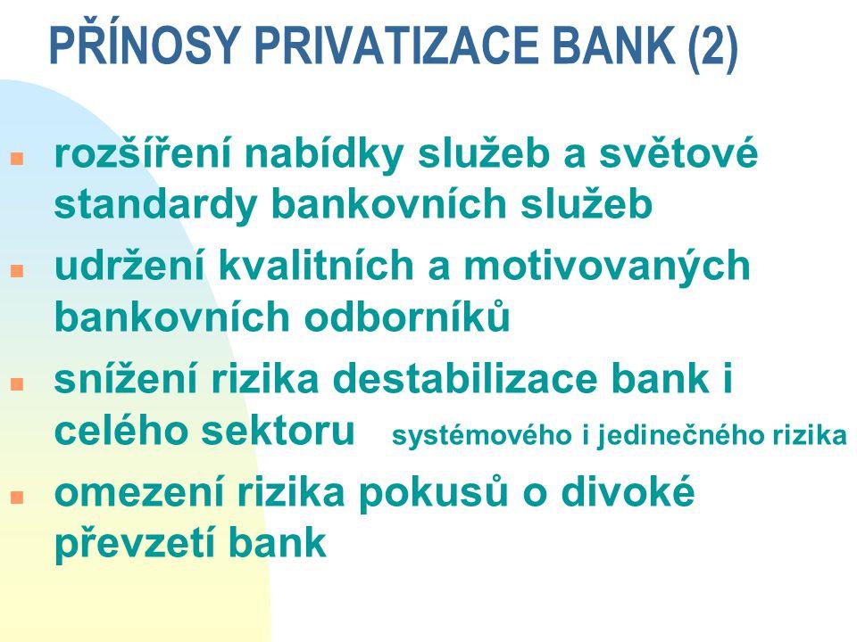 PŘÍNOSY PRIVATIZACE BANK (2)