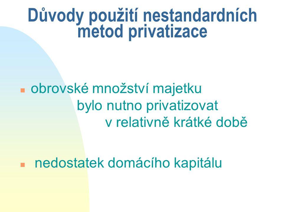 Důvody použití nestandardních metod privatizace
