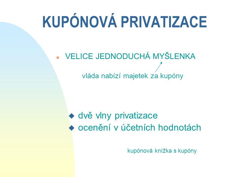 KUPÓNOVÁ PRIVATIZACE dvě vlny privatizace ocenění v účetních hodnotách