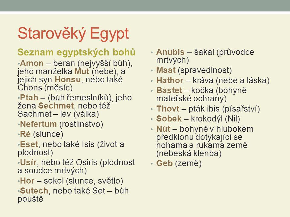 Starověký Egypt Seznam egyptských bohů