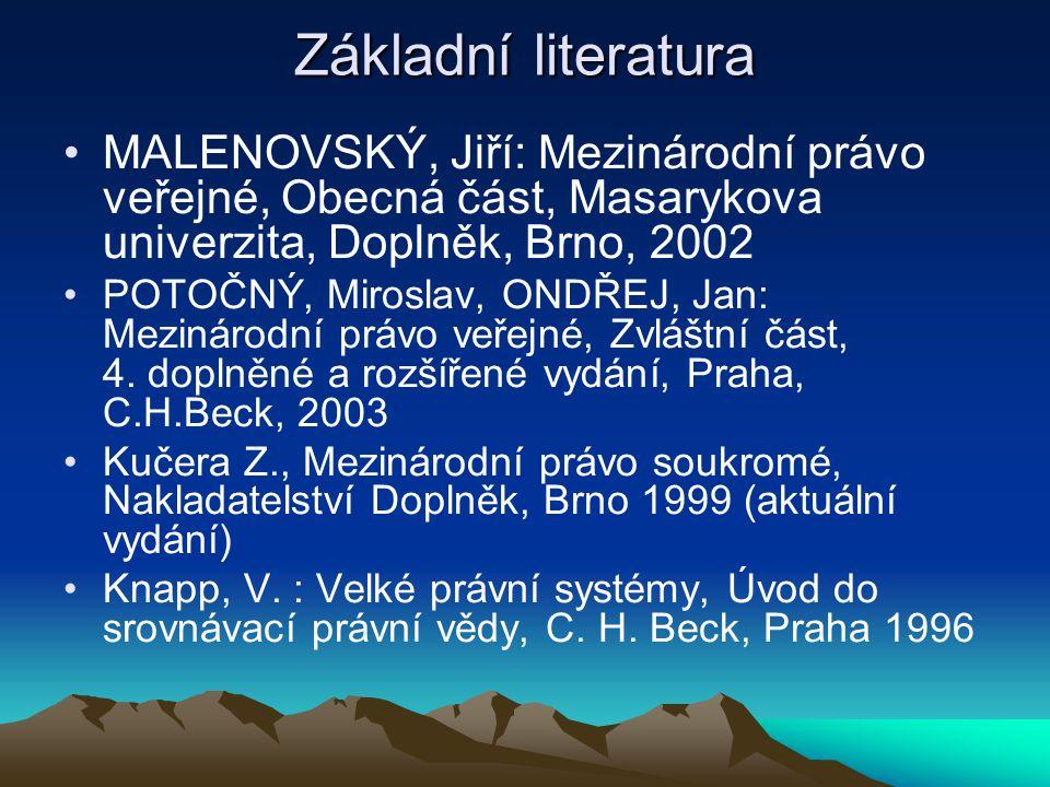 Základní literatura MALENOVSKÝ, Jiří: Mezinárodní právo veřejné, Obecná část, Masarykova univerzita, Doplněk, Brno, 2002.