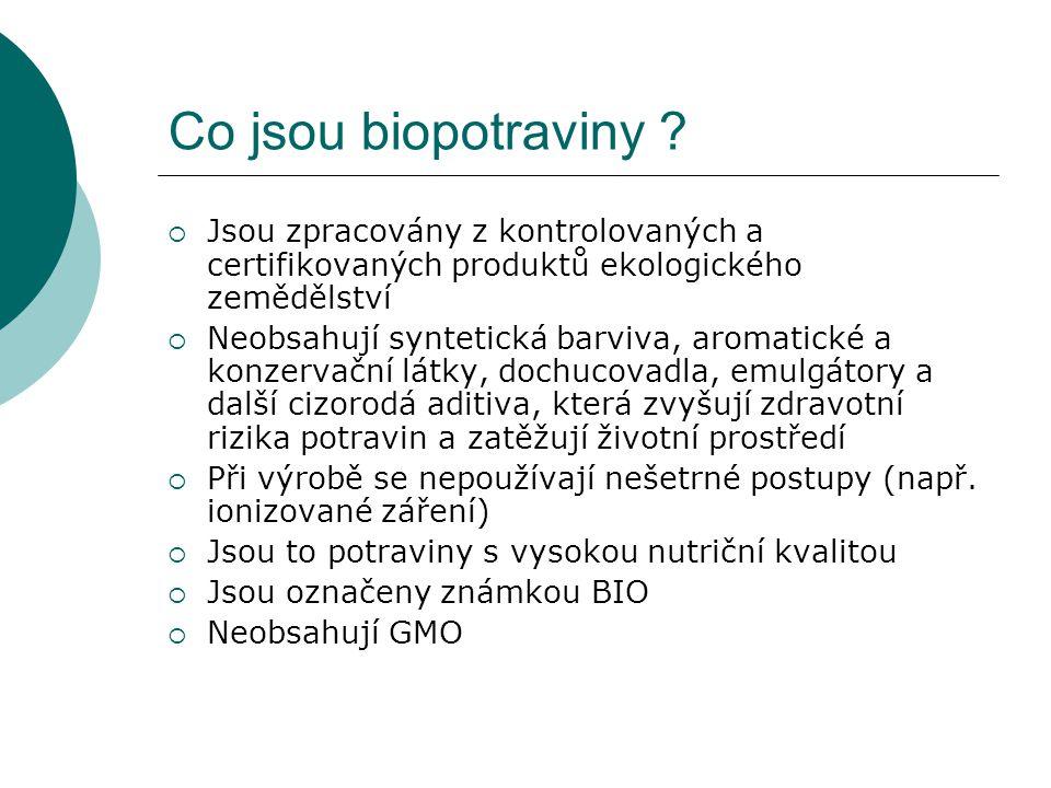 Co jsou biopotraviny Jsou zpracovány z kontrolovaných a certifikovaných produktů ekologického zemědělství.