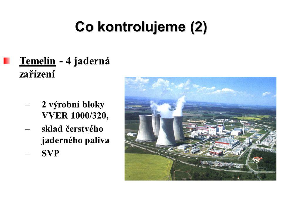Co kontrolujeme (2) Temelín - 4 jaderná zařízení