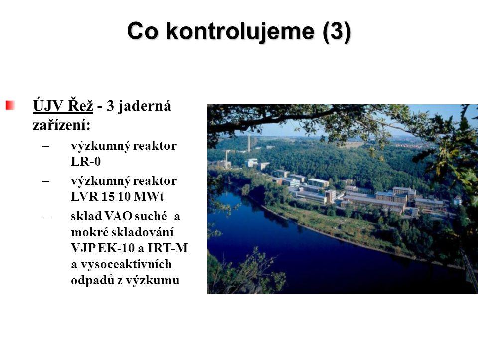 Co kontrolujeme (3) ÚJV Řež - 3 jaderná zařízení: