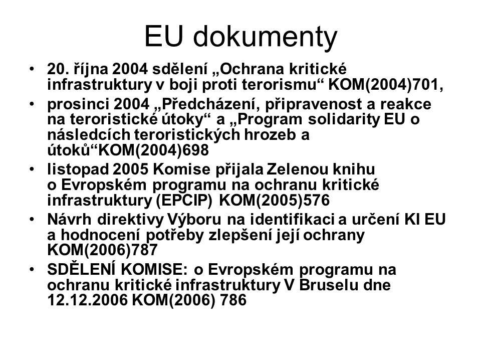 """EU dokumenty 20. října 2004 sdělení """"Ochrana kritické infrastruktury v boji proti terorismu KOM(2004)701,"""
