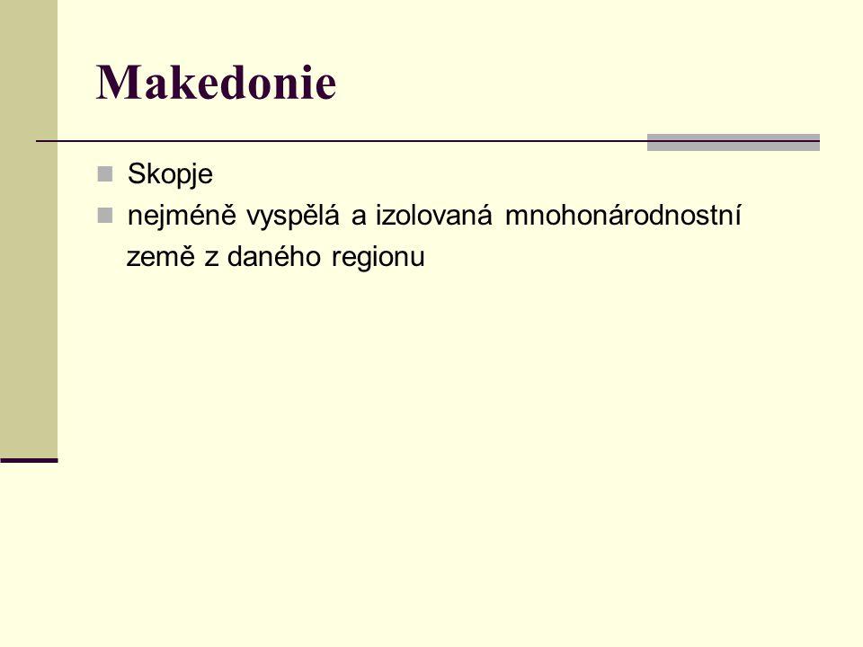 Makedonie Skopje nejméně vyspělá a izolovaná mnohonárodnostní