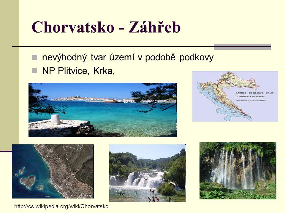 Chorvatsko - Záhřeb nevýhodný tvar území v podobě podkovy