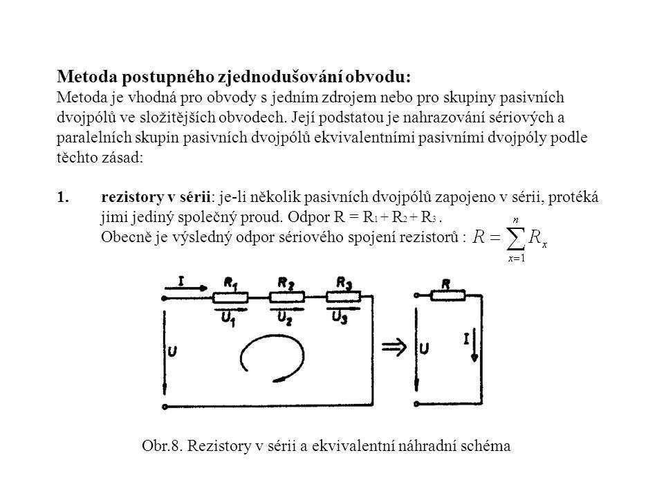 Obr.8. Rezistory v sérii a ekvivalentní náhradní schéma